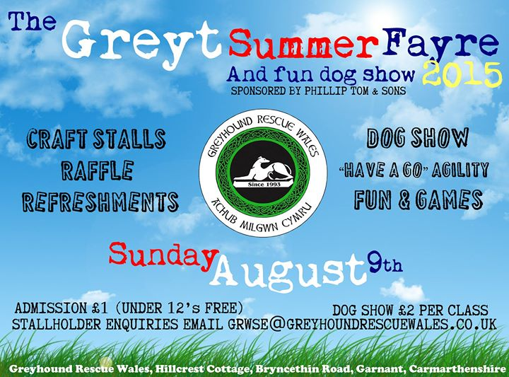 greyhound rescue wales summer fair poster