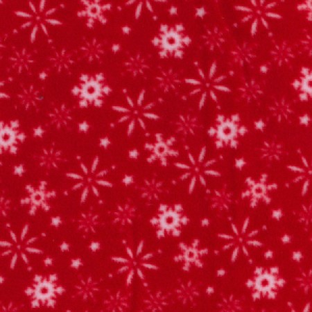 red snowflakes fleece material