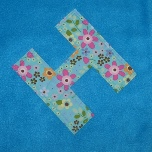 Blue Blanket with Appliqued Letter H Greyhounds